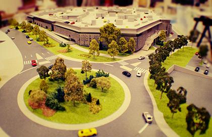 Maquette urbanisme représentant un plan de circulation