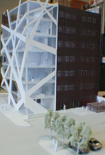 Maquette architecture représentant un bâtiment moderne.