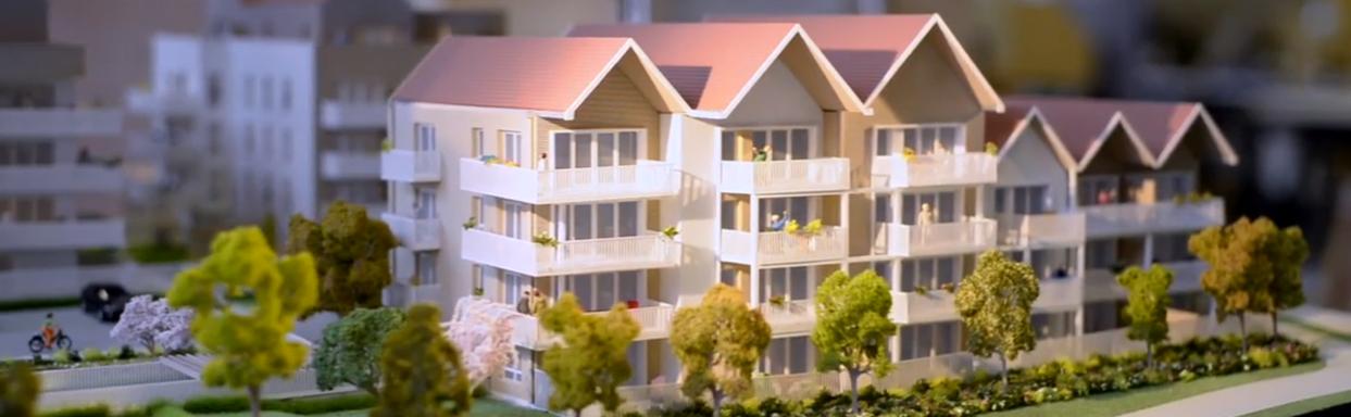 Maquette d'architecture représentant des immeubles
